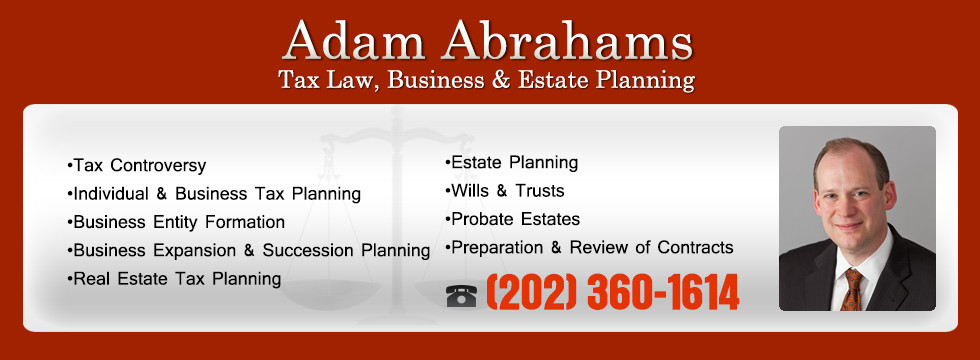Adam Abrahams Tax Planning and Estate Planning in Silver Spring, MD banner